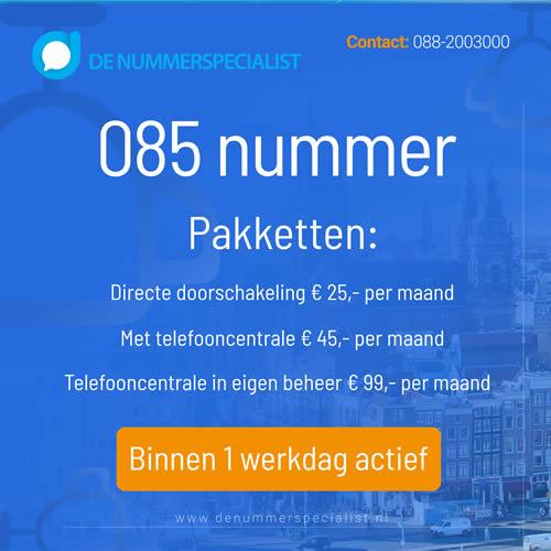 085 nummer aanvragen